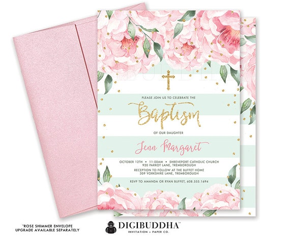Floral baptism invitation new baby christening invite new baby il570xn solutioingenieria Image collections