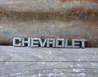 Vintage Chevrolet Truck or Car Emblem Badge Metal Auto Emblem Chrome Stocking Stuffer Collectible vtg Old Automobile Collectible Man Cave