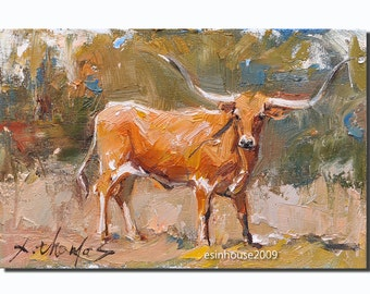 Texas Longhorns cow portrait  oil Painting Originals on canvas panel 12cmx18cm