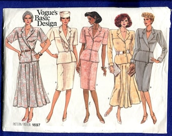 Vintage 1980's Vogue 1697 Retro Military Style Jacket & Flared Pencil Skirts Size 8..10..12