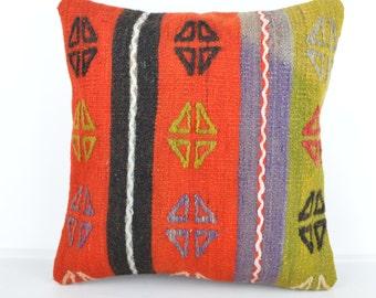 Kilim pillow, Kilim Pillow Cover k581, Turkish Pillow, Kilim Cushions, Bohemian Decor, Moroccan Pillow,  Bohemian Pillow, Turkish Kilim