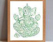 Ganesha Personalised Wedding Painting, Mr and Mrs Custom Wedding Gift, Personalised Ganesha Wedding Painting