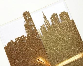 Laser Cut City Chicago Wedding Invitation, Gold Glitter Wedding Invitation