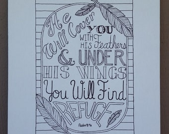 Psalm 91:4a Hand Lettered Typography on Canvas Panel
