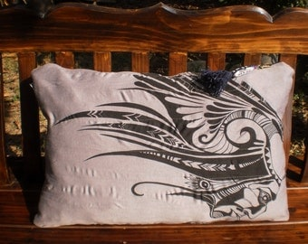 Sure T Shirt Upcycled Pillow Cover American Indian Design
