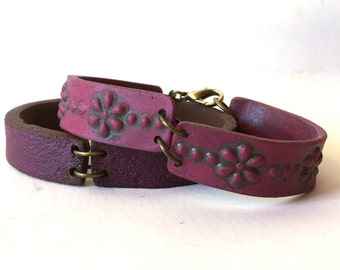 Bracelet in shades of Purples, Colorful Leather Inspired Clay Bracelet, Wine, Burgundy Raspberry, Yoga jewelry, Oriental, Market, Vibrant