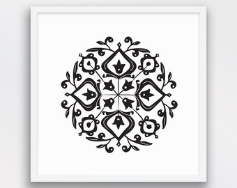 Geometric Persian Motif Print, Folk Art, Nordic Chic, Black and White Decor, Persian Motif Wall Art, Folk Art wall decor, Printable Art
