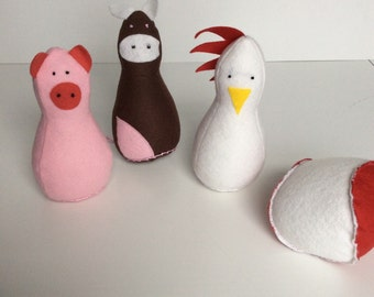 Farm Friends Skittles Farm Animals Felt Toy Pig Cow Rooster Felt Ball Red and Yellow