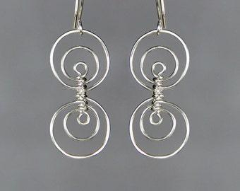 Sterling silver triple hoop earrings handmade US free shipping Anni Designs