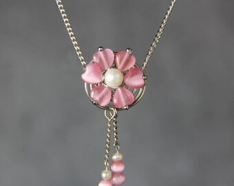 Pink flower cat eye pearl collar necklace Bridesmaid gifts Free US Shipping handmade Anni designs