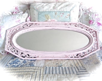 Shabby Rose Petal Pink Long Octagonal Floral Baroque Oval Face Wall Mirror Cottage Chic Ornate READY TO SHIP