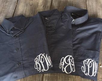 Monogrammed Oxford, Button Down Bride/Bridesmaids Oversized Monogrammed Button Down Shirts
