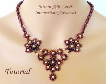 GEISHA superduo or twin beads beaded necklace beading tutorial and pattern beadwork jewelry beadweaving tutorial beading pattern instruction