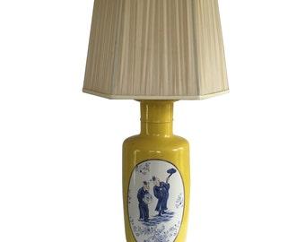 Monumental Yellow Vase Lamp, Wood Base, Blue and White Design