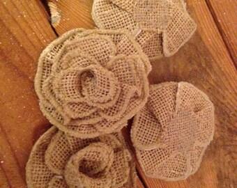 "Natural Burlap Rose Applique - 3"" - Set of 3"