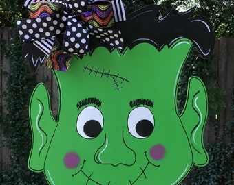 Frankenstein Door Hanger, Halloween Door Hanger, Whimsical Monster, Trick or Treat, Fall Door Hanger, Ghosts and Goblins
