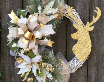 Deer Wreath, Christmas Wreath, Cabin Wreath, Gold Deer Head, Rustic Wreath, Winter Wreath
