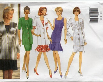 Loose Fitting Unlined Below Hip Jacket And Straight Sleeveless Dress Size 12 14 16 Sewing Pattern 1996 Butterick 4335 Plus Size