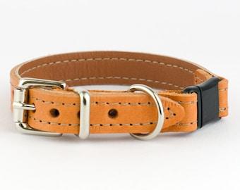 Tan Italian Leather Cat Collar