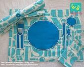 Aqua Letterpress Montessori TeachMe RollUp Placemat by Messy Kids Designs