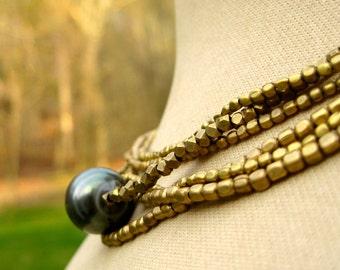 OMAIRA  Multistrand Brass & Tahtian Pearl Necklace