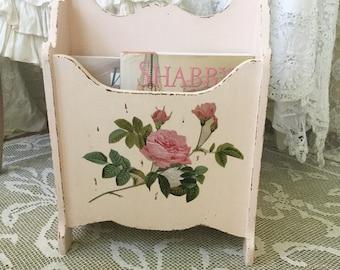 Shabby Pink Magazine Rack, Cottage chic, Vintage Book Rack, Nursery, Bathroom storage, craft room, Stand, Chippy distressed