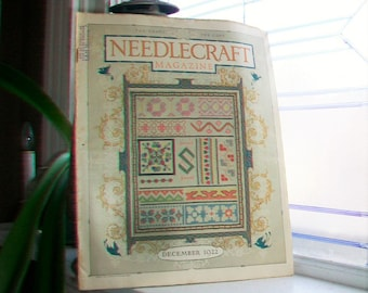1922 Needlecraft Magazine December Issue with Large Cream Of Wheat and Jello Ads Vintage 1920s Sewing