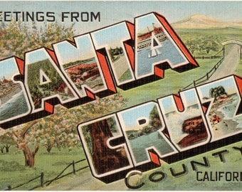 Linen Postcard, Greetings from Santa Cruz County, California, Beach, Large Letter