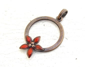 Red Enamel Flower Round Pendant Copper