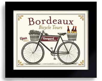 Wine Gift Drinks Wine Bordeaux France Wine Art Wine Connoisseur Unique Wine Gift Idea Bicycle Art Bar Decor Vineyards French Wines