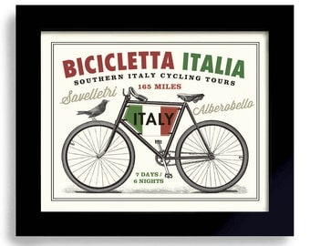 Italian Decor, Bicycle Art, Italy Art, Bike Art, Cycling Art, Bicyclist Art, Bike Enthusiast, Italian Flag Bike Rider