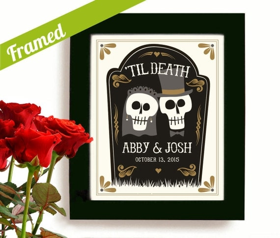 Wedding Gift Personalized Art : Wedding Gift Personalized Art Day of the Dead Tombstone Newlywed Gift ...