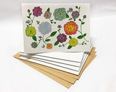 Watercolor Peonies Floral Illustrated Blank Cards Set - 5 pieces