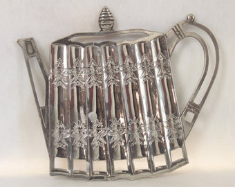 Vintage Silver Teapot Trivet Godinger Silver 1992 Silverplate Plated Etched Ornate Footed Hot Plate Retro Kitchen Decor Decoration