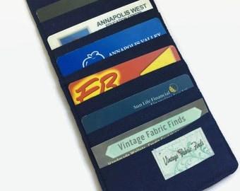 Credit Card Holder, Navy Blue Card Holder, Business Card Holder, Loyalty Card case, Women's wallet organizer