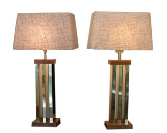 Mid Century Modern, vintage, danish, resin and brass pair of lamps