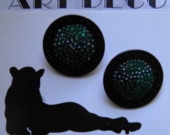 Large Black and Emerald Rhinestone Clip Earring