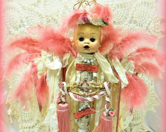 Beautiful, Repurposed, Recycled, Assemblage, Altered, Shabby Angel Doll, OOAK