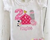 Pink Farmyard Birthday Shirt- Pig, cow, and rooster- Pink Polka Dot barn- Birthday Farm- Custom embroidery