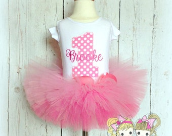 Pink Birthday Tutu Set- 1st Birthday- Pink Polka Dots- Custom embroidery