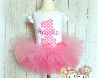 Pink Birthday Tutu Set- 1st Birthday- Pink Polka Dots- Custom embroidery