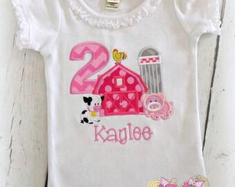 Pink farm themed birthday shirt - farm birthday shirt - 1st birthday farm shirt - pink barnyard birthday shirt - girls farm birthday shirt