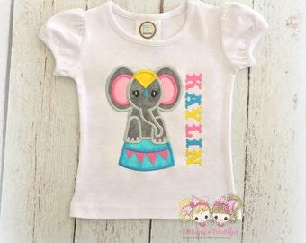 Circus elephant shirt for girls - circus themed shirt - embroidered circus elephant shirt - personalized girls circus shirt - 1st circus