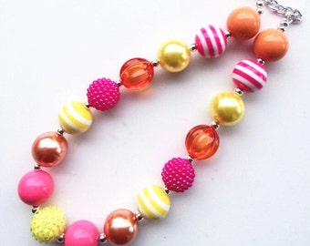 little girl chunky bead necklace pink orange yellow bubble gum chunky baby necklace big girl necklace big bead necklace