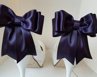 Lapis Shoe Clips, Bridal Shoe Clips, Satin Bow Shoe Clips, Shoes Clips,  Shoe Clips for Wedding Shoes, Bridal Shoes, MANY COLORS