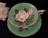 Gorgeous Paragon Tea Cup -- Green with White Rose -- English Tea Cup -- Cup and Saucer -- 1940's