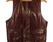 1960s Custom Made Mens Leather Oxblood Vest Wild West  Cowboy SteamPunk  Motorcycle Biker Warriors