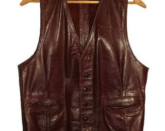 1960s Custom Made Mens Leather Oxblood Vest Wild West  Cowboy SteamPunk  Motorcycle Biker Warriors