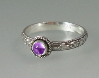 Vintage style amethyst ring - sterling silver Victorian style ring - February birthstone - amethyst engagement ring - boho stacking ring