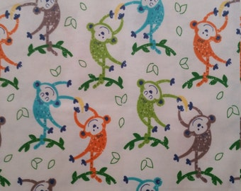 Cotton Flannel Fabric, Monkeys and Bananas on white flannel - By the Yard - Green, Turquoise, Orange, Brown, Soft, Baby Animals, neutral